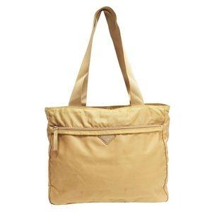 Prada tan yellow nylon triangle vintage tote bag